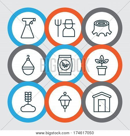Set Of 9 Agriculture Icons. Includes Sprinkler, Cereal, Grower And Other Symbols. Beautiful Design Elements.