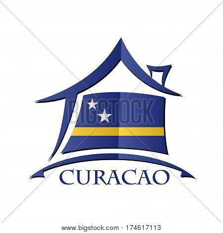 House icon made from the flag of Curacao