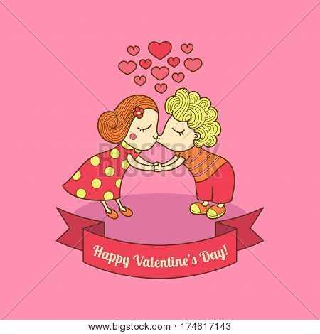 Kissing girl and boy. Valentine lovers. Vector illustration of a cute kissing couple