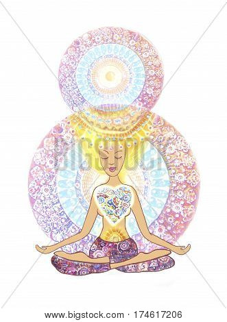 The 8th of March banner and poster. Yoga lotus pose. Hand drawn woman sitting in lotus pose of yoga on mandala background. For yoga studio or fitness club. Template for design cards poster t-shirt.