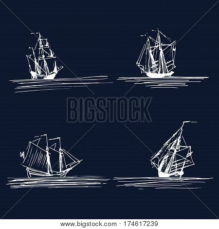 Vector set of sailing ships or boats in the sea in ink line style. Hand sketched schooners, sloops, brigantines. Marine theme design.