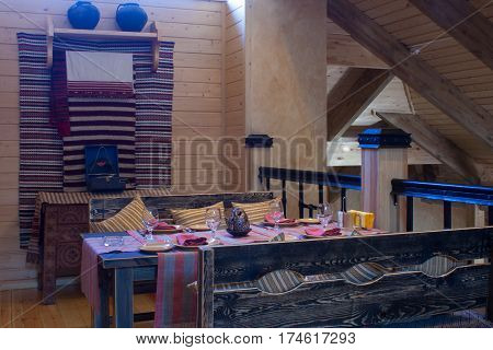 interior of the restaurant in ethnographic style