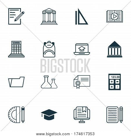 Set Of 16 Education Icons. Includes Measurement, Haversack, Taped Book And Other Symbols. Beautiful Design Elements.