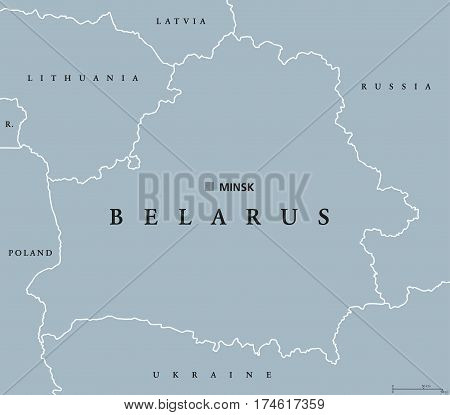 Belarus political map with capital Minsk, national borders and neighbors. Formerly known as Byelorussia. Republic and landlocked country in Eastern Europe. Gray illustration. English labeling. Vector.