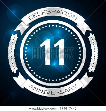 Eleven years anniversary celebration with silver ring and ribbon on blue background. Vector illustration