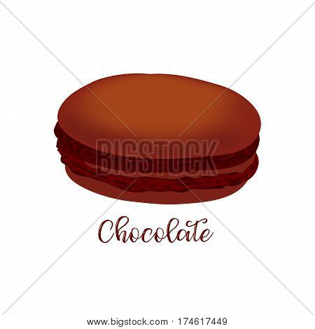 Chocolate french macaroon isolated on white background. Can be used for banner, flyer, menu, wrapping paper. Vector art image illustration.