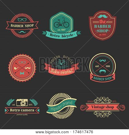 Vector set of vintage hipster logo. Retro icons or badges collection