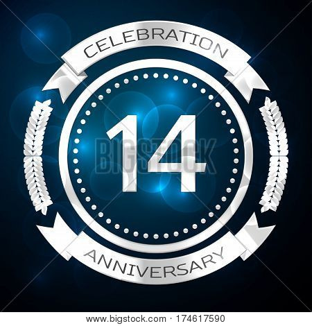Fourteen years anniversary celebration with silver ring and ribbon on blue background. Vector illustration