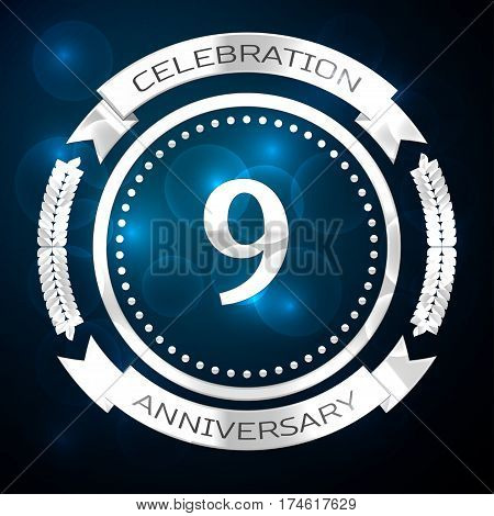 Nine years anniversary celebration with silver ring and ribbon on blue background. Vector illustration