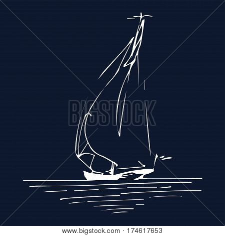Sailing boat or ship in the ocean in ink line style. Vector hand sketched yacht. Marine theme design