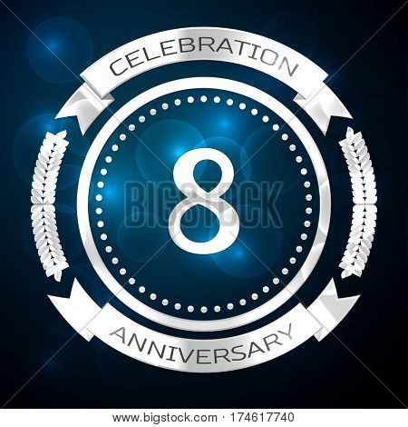 Eight years anniversary celebration with silver ring and ribbon on blue background. Vector illustration