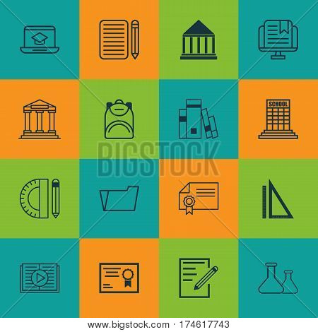 Set Of 16 Education Icons. Includes Taped Book, Academy, Document Case And Other Symbols. Beautiful Design Elements.