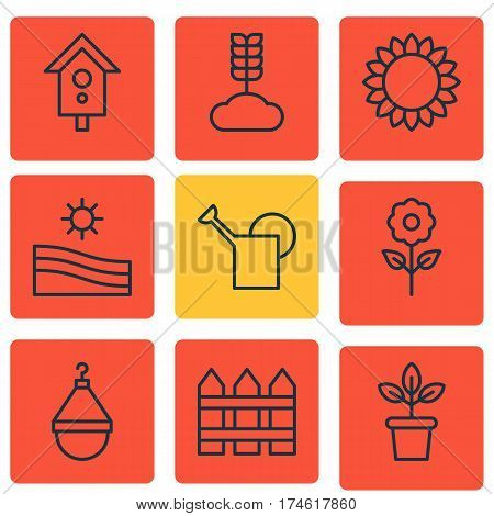 Set Of 9 Gardening Icons. Includes Cereal, Birdhouse, Decorative Plant And Other Symbols. Beautiful Design Elements.