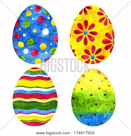 Easter eggs. Watercolor illustration on a white background