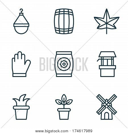 Set Of 9 Plant Icons. Includes Water Source, Hanger, Autumn Plant And Other Symbols. Beautiful Design Elements.