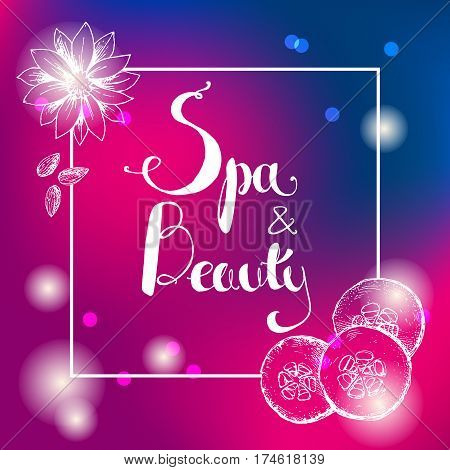 Vector dark blue and pink  shiny blur gradient background with hand lettering. Spa and beauty. Template for design of organic cosmetics, relax and spa center or studio. Hand-drawn frame square illustration.