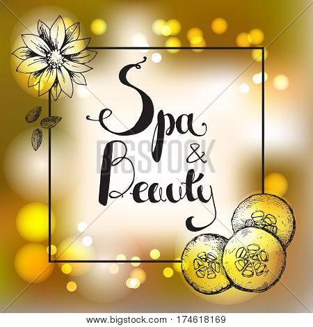 Vector golden shiny blur gradient background with hand lettering. Spa and beauty. Template for design of organic cosmetics, relax and spa center or studio. Hand-drawn frame square illustration.