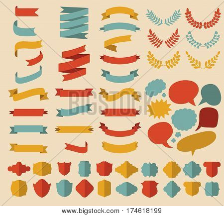 Big vector set of ribbons, laurels, wreaths and speech bubbles in flat style