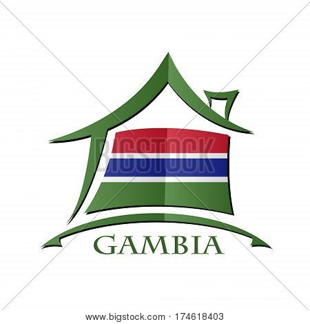 House icon made from the flag of Gambia