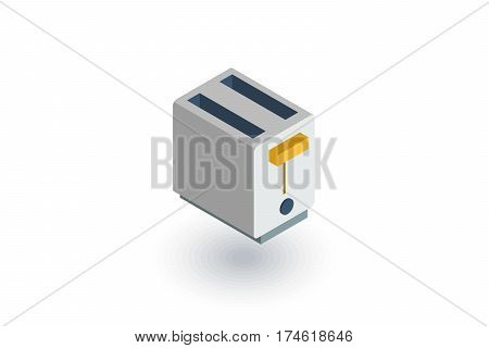 Toaster isometric flat icon. 3d vector colorful illustration. Pictogram isolated on white background