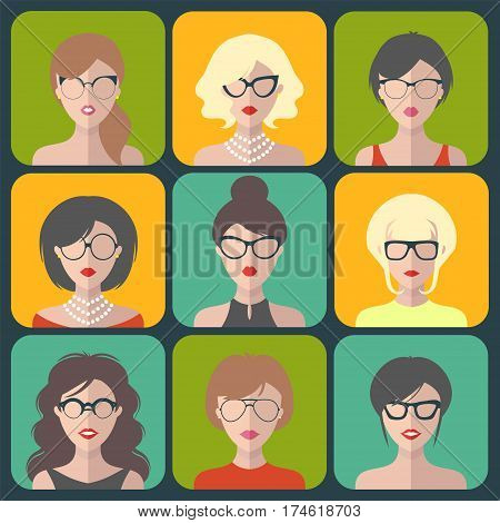 Vector set of different women app icons in glasses in flat style
