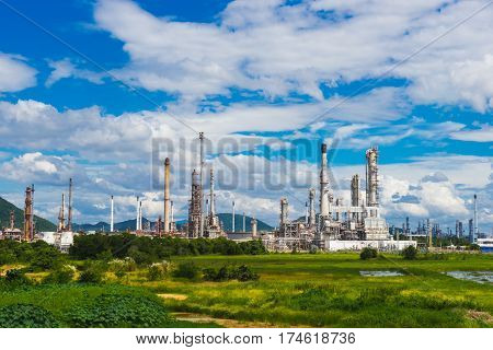 Oil Refinery factory industry with blue sky and clouds. Petrochemical plant , Petroleum , Industrial-plant.