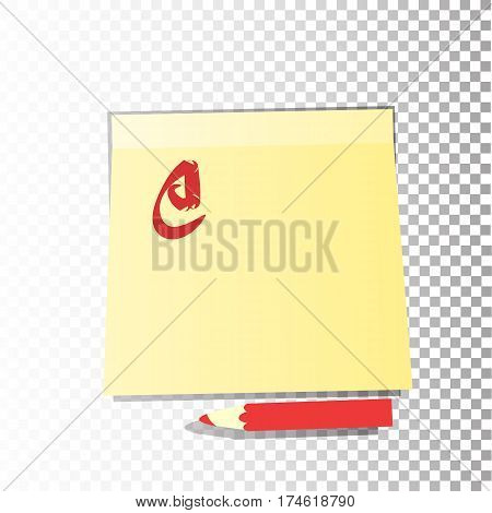 Office Paper Yellow Sticker Sheet With A Pencil Or Red