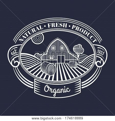 Vector retro farm fresh engraving logotype. Vintage organic bio products badge. Eco food sign