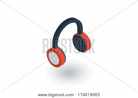 music headphones isometric flat icon. 3d vector colorful illustration. Pictogram isolated on white background