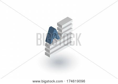 text content, block, newspaper article isometric flat icon. 3d vector colorful illustration. Pictogram isolated on white background