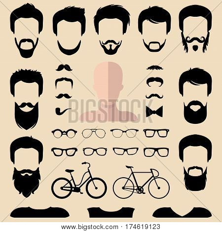Big vector set of dress up constructor with different men hipster haircuts, glasses, beard, mustache, bikes in trendy flat style. App man faces icon creator.