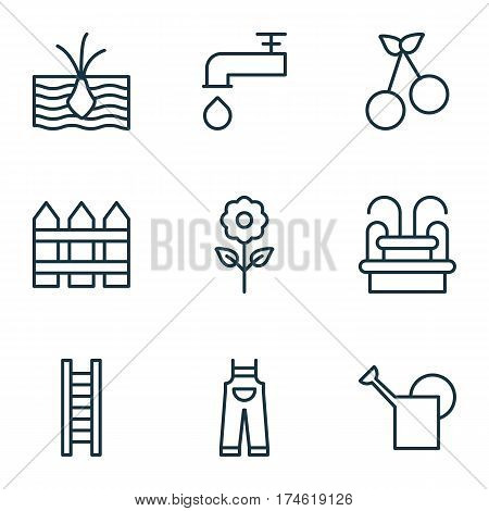 Set Of 9 Gardening Icons. Includes Growing Plant, Garden Clothes, Spigot And Other Symbols. Beautiful Design Elements.