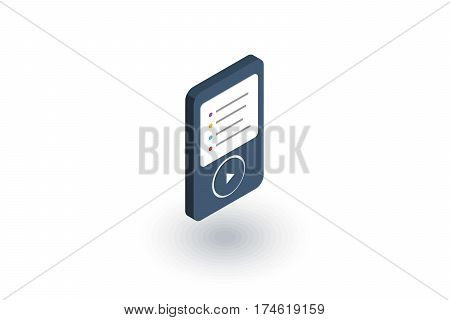 MP3, music player isometric flat icon. 3d vector colorful illustration. Pictogram isolated on white background
