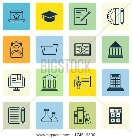Set Of 16 School Icons. Includes Academy, Taped Book, Document Case And Other Symbols. Beautiful Design Elements.