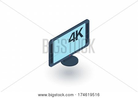 high resolution 4k tv isometric flat icon. 3d vector colorful illustration. Pictogram isolated on white background