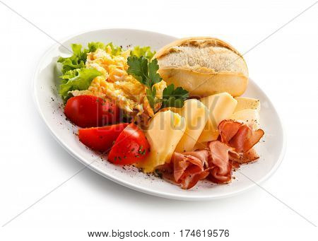 Breakfast - scrambled eggs, ham and cheese