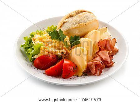 Breakfast - scrambled eggs, ham and cheese