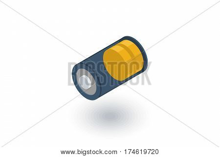 low battery, charge isometric flat icon. 3d vector colorful illustration. Pictogram isolated on white background