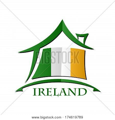 House icon made from the flag of Ireland