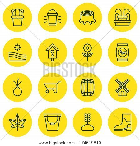 Set Of 16 Farm Icons. Includes Decorative Plant, Cask, Cereal And Other Symbols. Beautiful Design Elements.