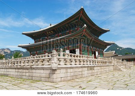 SEOUL, KOREA - AUGUST 31, 2008: Exterior of the historical building in Gyeongbokgung Palace in Seoul, Korea.