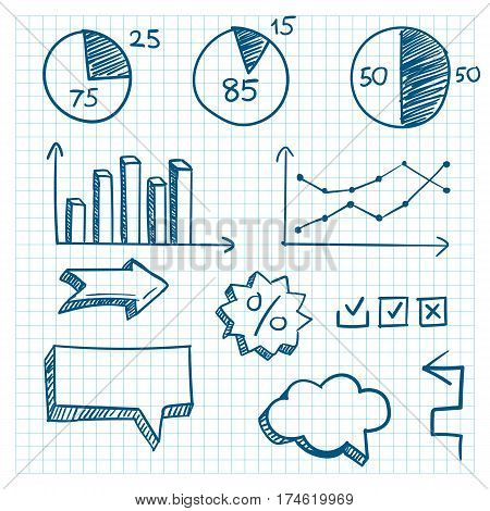 Hand-drawn finance elements. Arrows and graphcs. Vector illustration