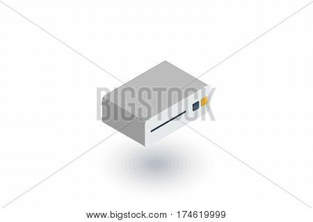cd player, console, DVD, cd-rom isometric flat icon. 3d vector colorful illustration. Pictogram isolated on white background