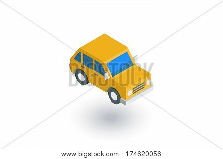 yellow car, hatchback isometric flat icon. 3d vector colorful illustration. Pictogram isolated on white background