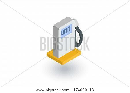 gasoline filling station, column isometric flat icon. 3d vector colorful illustration. Pictogram isolated on white background