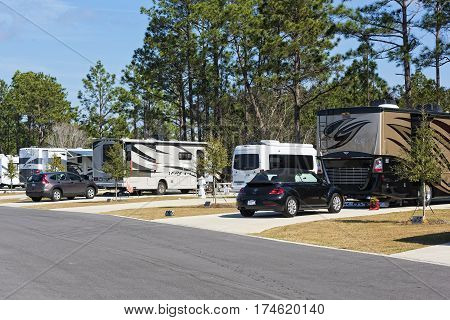 Orange Beach Alabama/USA - February 6 2017: Class A Motorhomes At A Luxury Camping Resort in Orange Beach Florida.