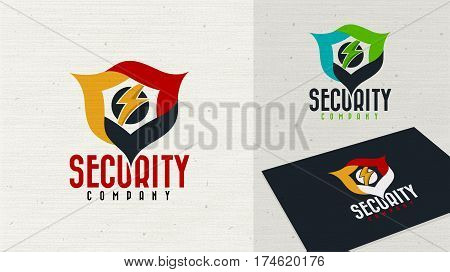 Security company logo design vector. Security protection shield symbol . Secure shield icon vector. Privacy lock flash icon