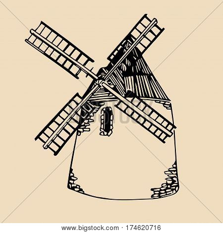 Vector illustration of traditional windmill in hand sketched style. Organic bio products poster. Eco food sign
