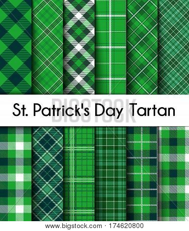 12 Seamless Patterns Green St. Patrick's Day Plaid. Tartan Flannel Shirt Patterns. Trendy Tiles Vector Illustration for Wallpapers.