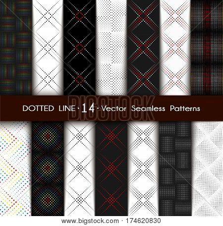 Set Dotted Line Geometric Seamless Pattern. Repeating Dotted Lines. Dots of the Different Size. Monochrome. Points Rainbow Colors. Vector Backdrop for Your Design. Texture Pattern Swatches Included in File.